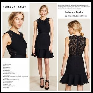 Rebecca Taylor Tweed & Lace Little Black Dress